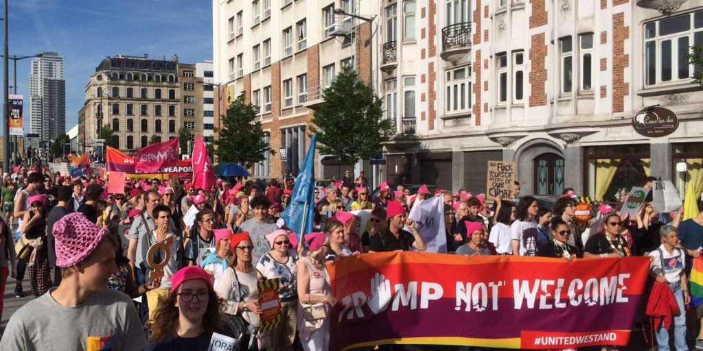 Trump not welcome: thousands protest in Brussels