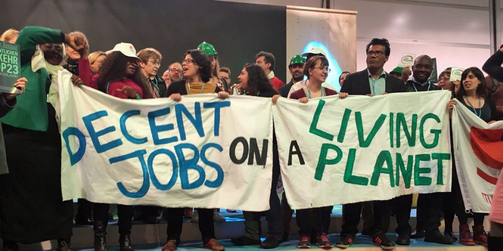 Joining ITUC to call for decent jobs and a living planet