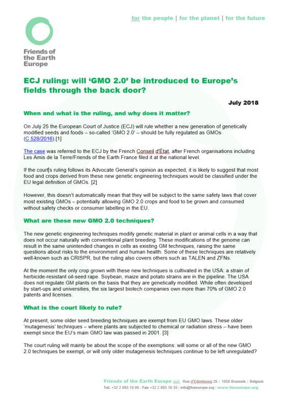 ECJ ruling: will 'GMO 2
