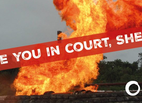 See you in court, Shell! Backdrop: Shell oil leak ablaze in Nigeria