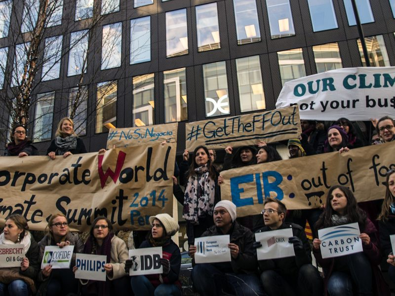 European Youth protesting in front of EIB in Brussels, 2014