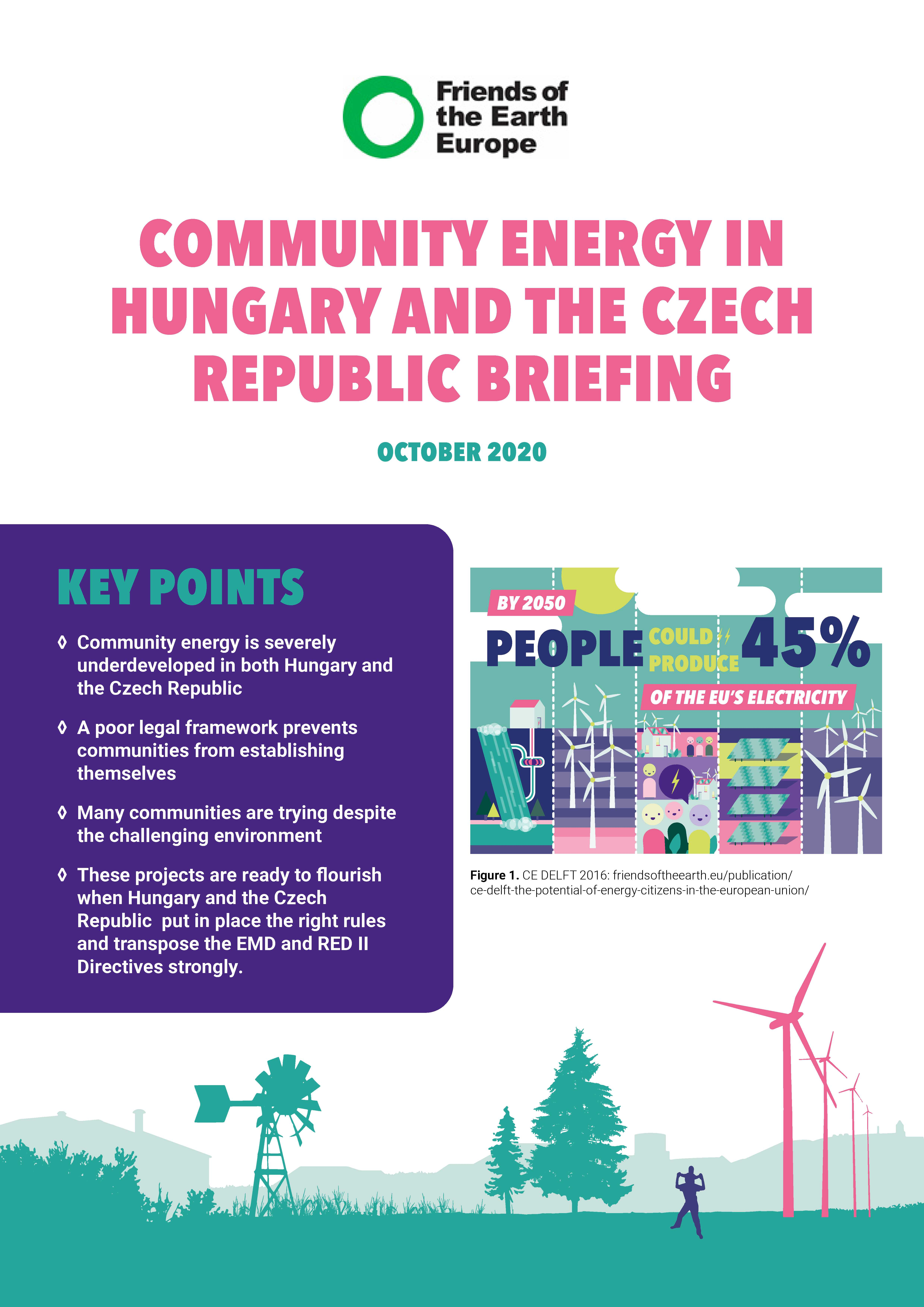 Briefing front cover - Community energy in Hungary and Czechia