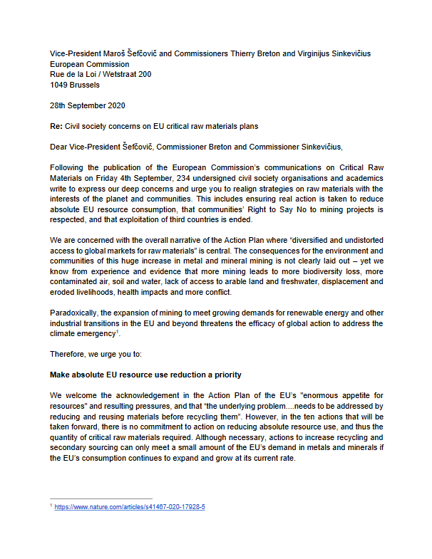 EU raw materials open letter