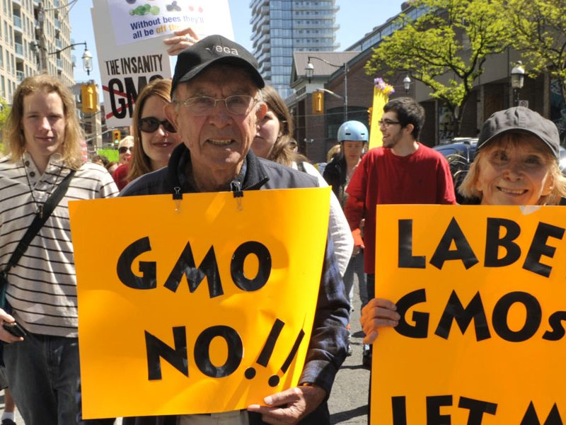 A protest for GMO products to be labelled