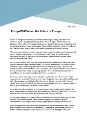 Europe We Want statement on the Future of Europe