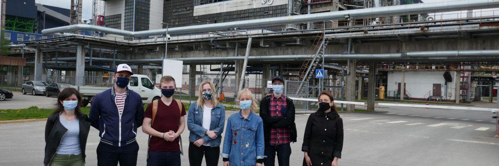 Estonian climate activists outside an oil shale plant